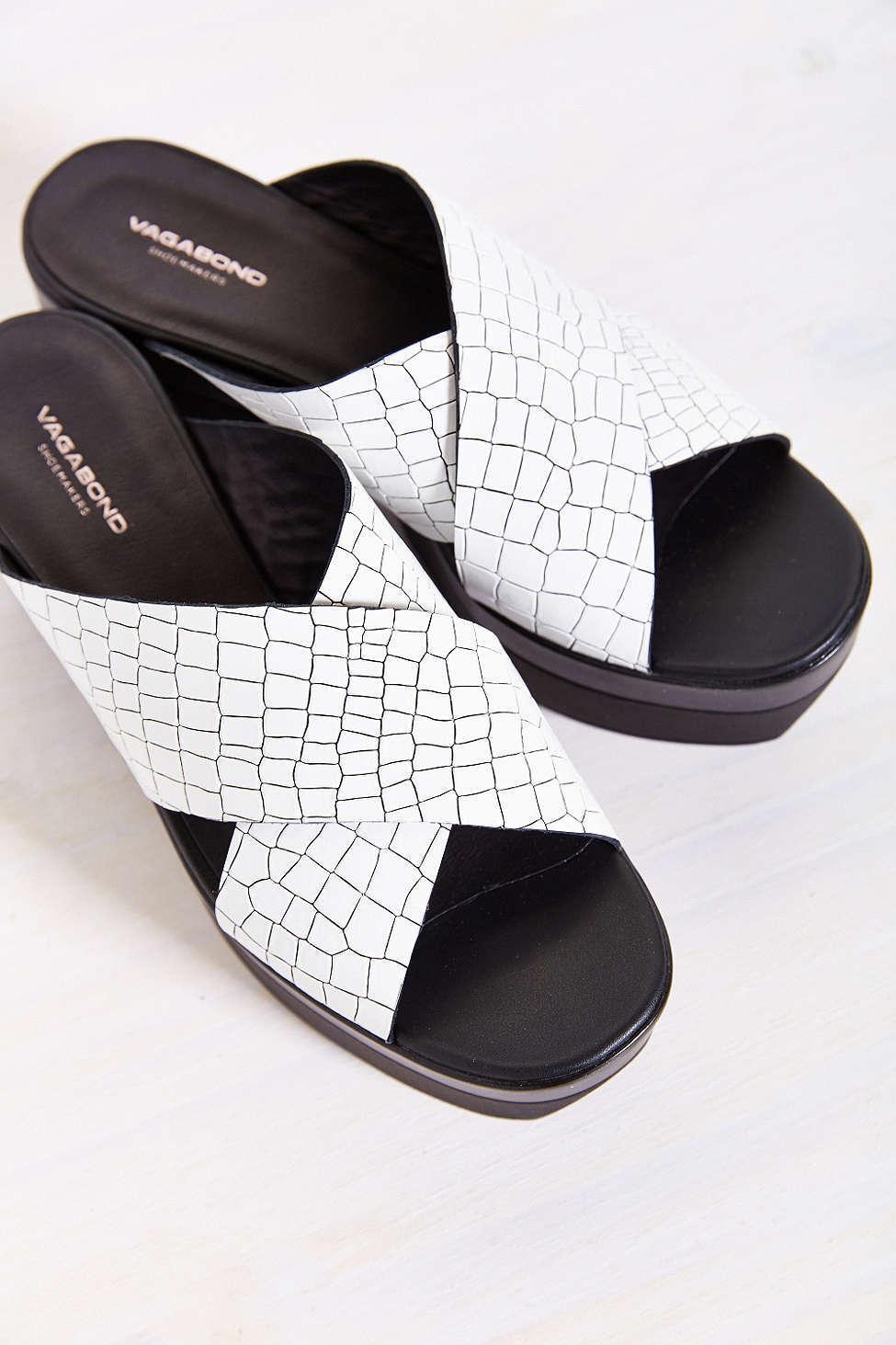 Vagabond Lindi Chunky Platform White Croc Textured Leather Slide Sandals 39 New