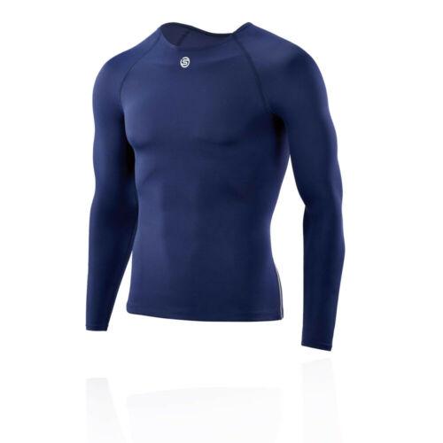 Skins Herren DNAmic Team Kompression Langarm Sportshirt Top Laufshirt Marineblau