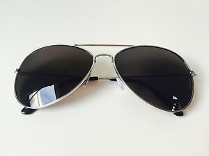 3d5388b113 Image is loading Black-Lens-Aviator-Sunglasses-Men-Women-Silver-Frame-