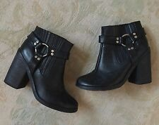 "SENSO Black Leather ""Jay"" Chunky Buckle High Heel Ankle Boot - Size 6 39"