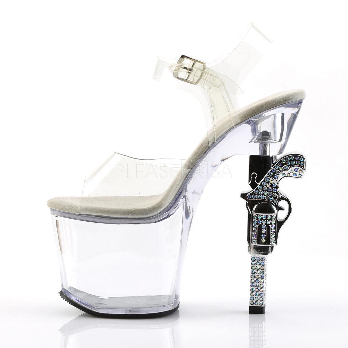 Pleaser REVOLVER - 708 Femmes Clair Talon Aiguille Aiguille Aiguille Plateforme Diapositive pole dance chaussures a96fcd