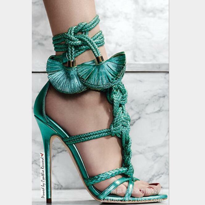 Neu Damenschuhe Open Toe Quasten Kreuzbänder Sehr Hoher Absatz Stiletto Sandalen