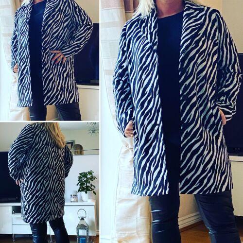 12-16 boutons sur le devant neuf taille L Mesdames Zebra Stripe 3//4 Longueur Manteau
