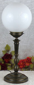 Tischlampe-Messing-Lampe-Jugendstil-Nachttischlampe-Kugellampe-Antik-Leuchte-Neu