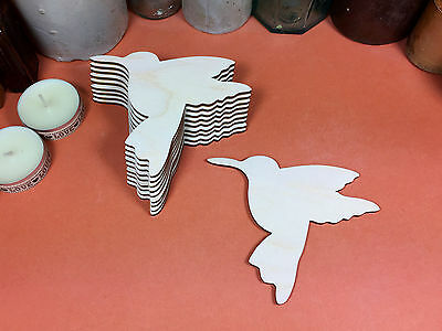 WOODEN HUMMING BIRD  Shapes 10.5cm (x10)  wood cutouts crafts blank shape
