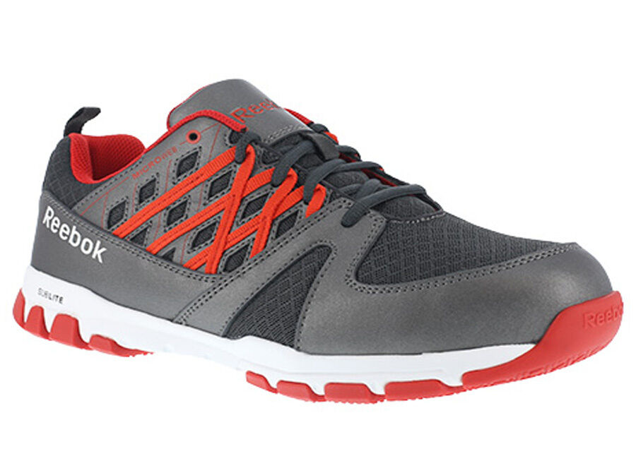 Reebok RB4005 Sublite Work Men's Grey W/ Red Micro Web Oxford Shoes Steel Toe