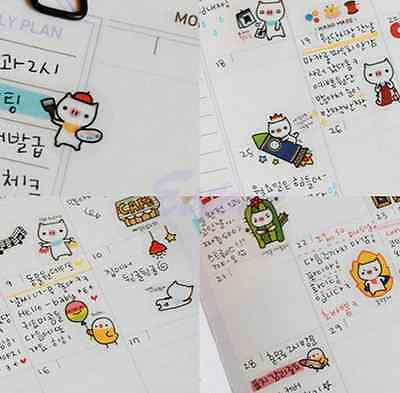 6 Sheet Pig Transparent Calendar Diary Book Sticker Scrapbook DIY Decoration