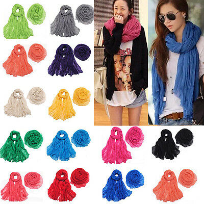 Fashion Women Long Big Crinkle Voile Scarf Wrap Shawl Stole Pure Candy 25 Color