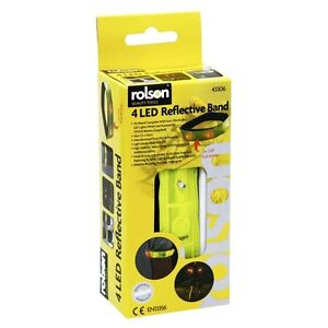 Rolson-4-LED-Giallo-Alta-Visibilita-RIFLETTENTI-Arm-Band-43306