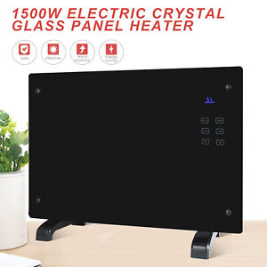 1500W-Electric-Panel-Heater-Glass-Flat-Convector-w-RC-Wall-Mount-amp-Free-Standing