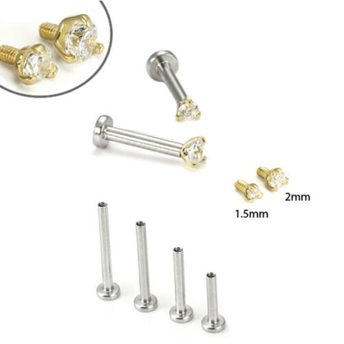 316L Surgical Steel 14KT Yellow Gold Labret Monroe Nose Stud Ring 18G or 16G