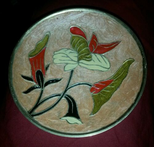 "Brass & Enamel Footed Bowl 5 18"" diameter excellent"