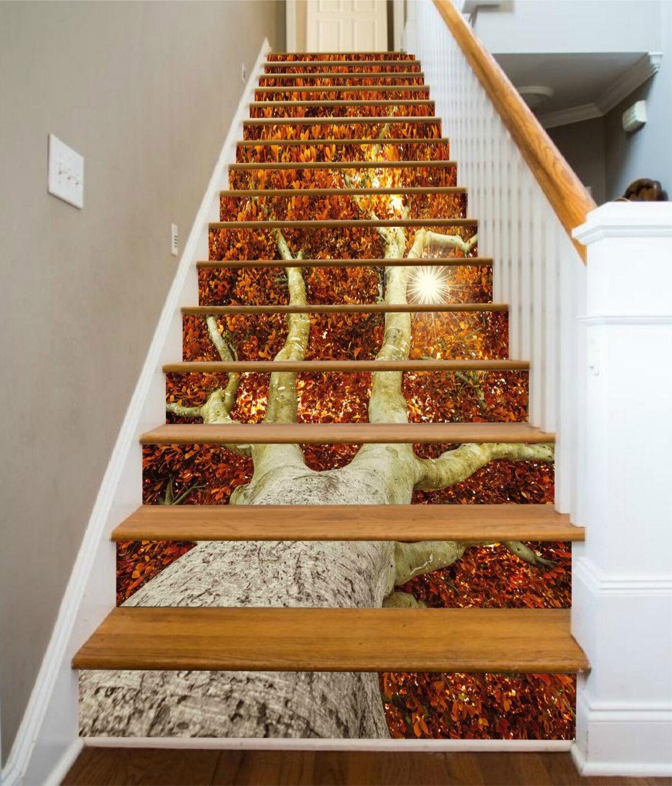 3D Üppig Baum 0020 Stair Risers Dekoration Fototapete Vinyl Aufkleber Tapete DE