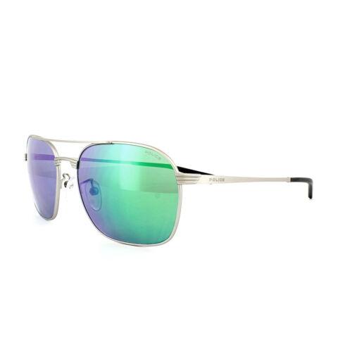 Lunettes de soleil police S8952 Rival 1 581V argent bleu vert miroir