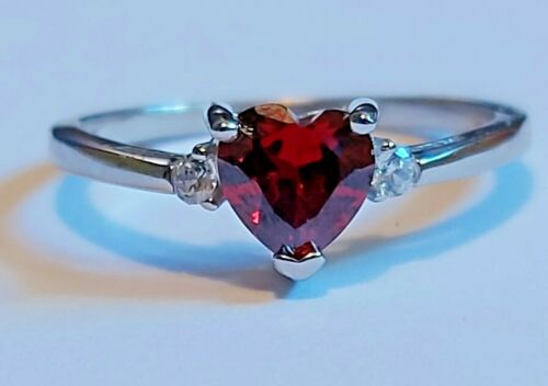 Garnet Heart Ring Sterling Silver 925 with gift box Valentines Gift