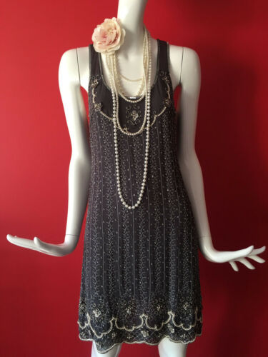 1ee0c931bb9c 3 of 12 Oasis Vintage Grey Flapper 1920s Gatsby Beaded Sequin Dress Size 14  EUR 40 BNWT