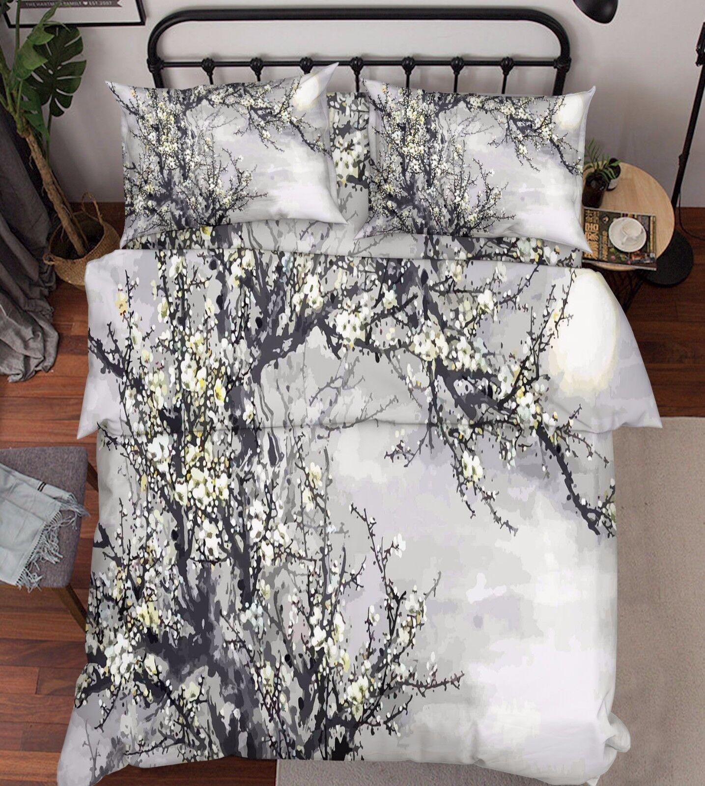 3D Plum Flowers Bed Pillowcases Quilt Duvet Cover Set Single Queen King Größe AU