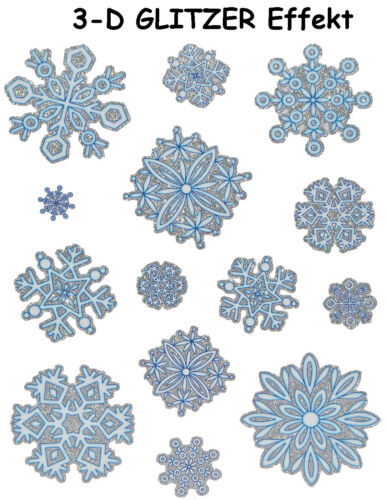 Window Picture Christmas-Snowflakes//schneekritalle//Winter Glitter Stic
