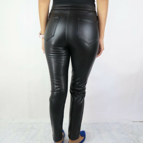 Ashley Mason Women/'s Size 29 Black PU Skinny Faux Vegan Leather Pants NWOT