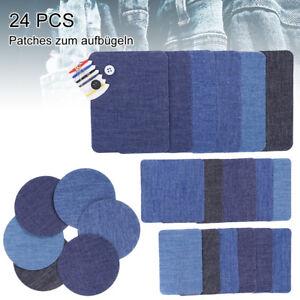24x-Flicken-Applikation-Hosenflicken-Aufnaeher-Patch-Knieflicken-Jeans-Buegelbild