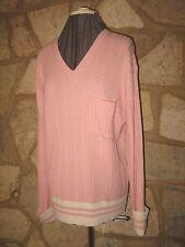 New Nicole Farhi Size S Pink Cotton Cashmere V Neck Casual Loose Jumper Sweater