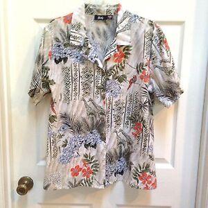 Tapestry-18W-Button-up-Shirt-Giraffe-Birds-Butterflies-Animals-Green-amp-Peach-Top