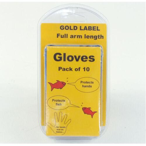 Paquet de 10 complet bras longueur étang Gants GOLD LABEL