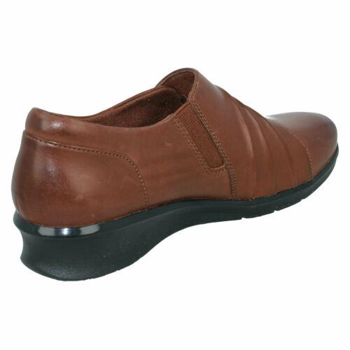 Femmes Clarks Froncé Travail du Cuir Casual Pantalon Slip On Chaussures Taille espère briller