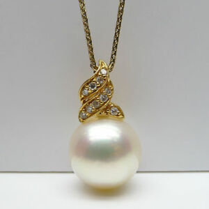 White-South-Sea-Cultured-Pearl-0-12ct-Diamond-Pendant-14k-Yellow-Gold-10-5mm
