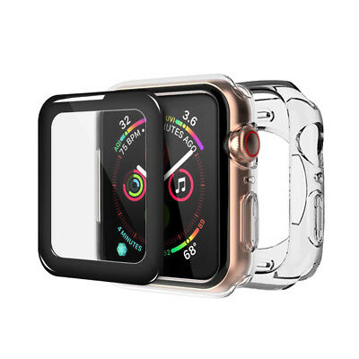 For Apple Watch iWatch Series 4 Clear Case Cover+ Curved Tempered Glass 40&44MM