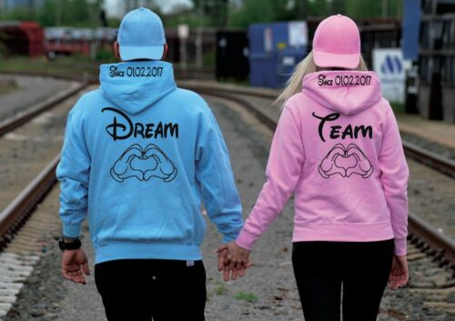 XXL Traumpaar Relationship Dream Team Hoodie Pullover Partner Look 2 Stück XS