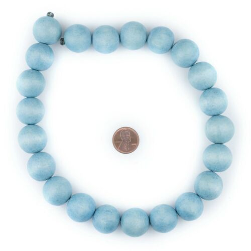 Light Blue Round Natural Wood Beads 20mm Large Hole 16 Inch Strand