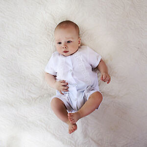 79ff38cfff0 Image is loading White-Christening-Outfit-Baby-Boy-Romper-Baptism-Suit-