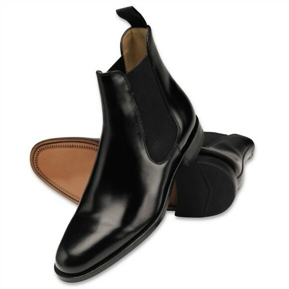 Hombres Cuero Negro botas Chelsea, Jodhpur Jumper botas, Casual Chukka botas al tobillo