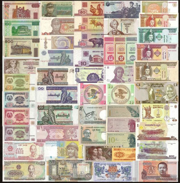 50 Pcs Different Mix World Banknotes 20 Countries Genuine Notes UNC