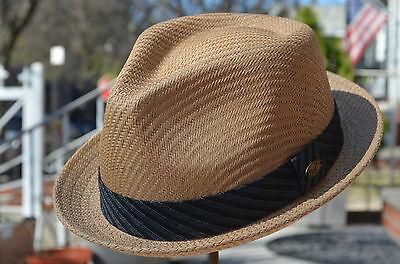 Qualité Summer Men/'s paille maille melon Fedora Stingy Brim Robe Chapeau 4 couleurs