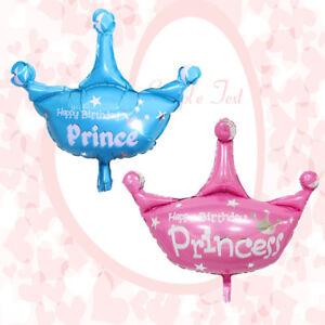 2pcs crystal happy birthday princess princes crown foil balloons