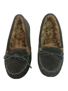 Zealand-8-M-black-suede-loafer-style-slipper-shoe-with-faux-fur-lining-Maddie