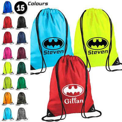 Funky Personalised Batman Superhero Kids Nursery PE School Drawstring Bag
