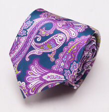 NWT $230 BRIONI Slim Satin Silk Tie Blue-Violet Intricate Paisley Print