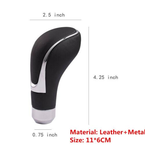 Silver Side Leather Car Transmission Gear Shift Knob Shifter Lever Gear Stick