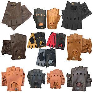 Neu Retro Stil Qualität Weiches Leder Fingerlose Fahrhandschuhe Ungefüttert Mode