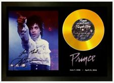 PRINCE SIGNED PHOTO AND 'PURPLE RAIN' GOLD CD DISC COLLECTABLE MEMORABILIA GIFT