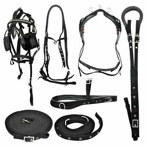 Black-Nylon-Driving-Harness-For-Single-Horse-with-Diamante-Browband-in-bridle