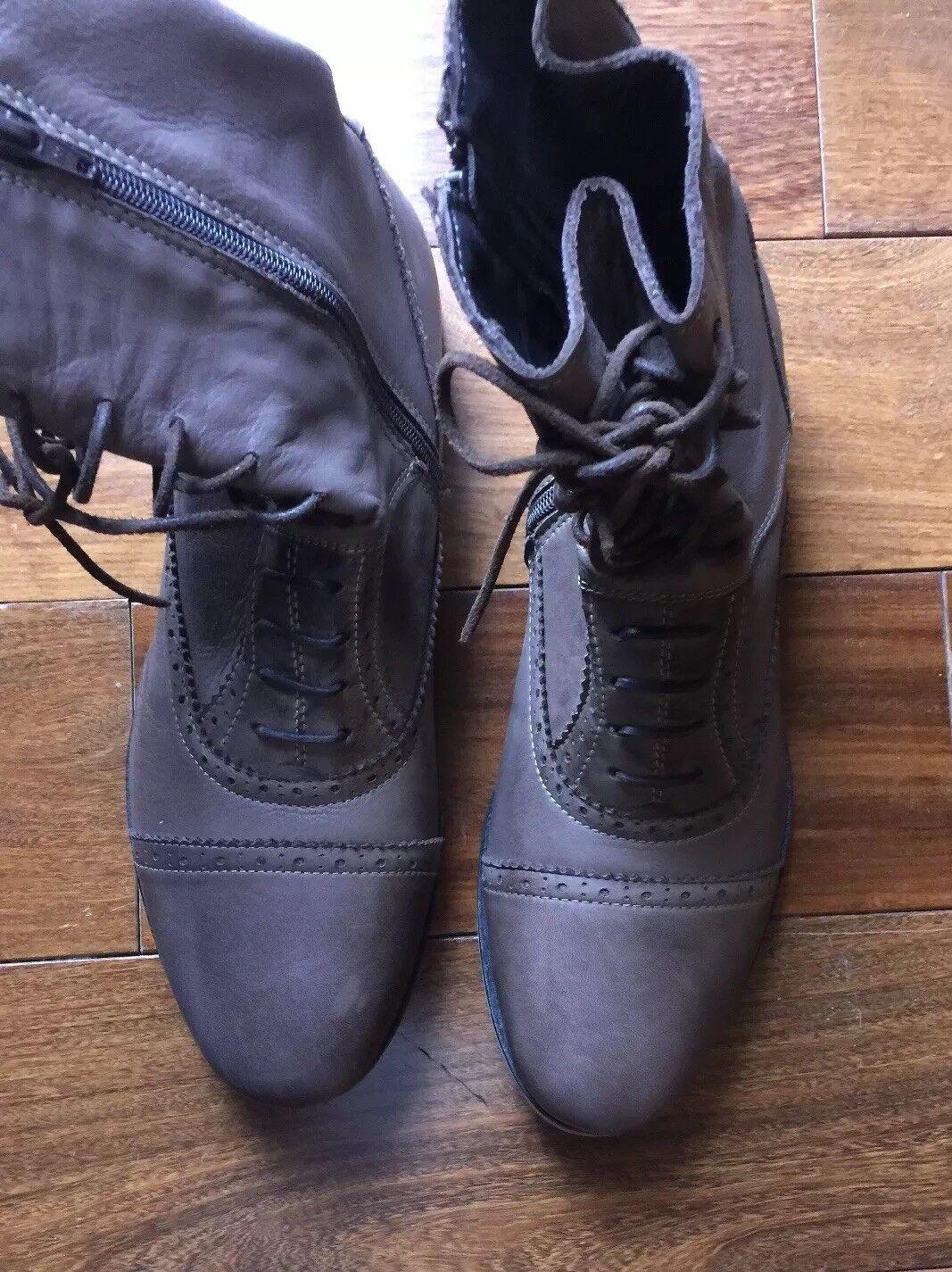 autorizzazione Zara Uomo Marrone Leather Zipper  stivali stivali stivali  negozio di sconto