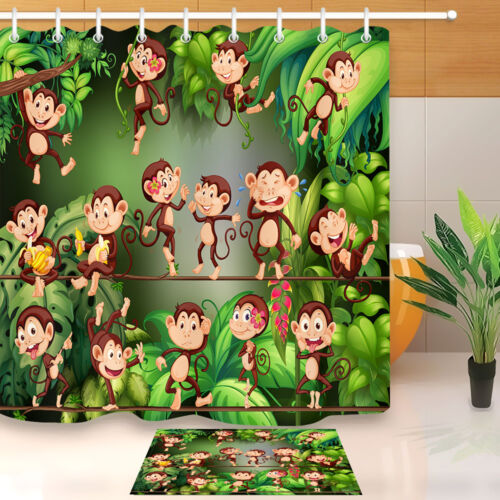 Cute Monkey in Jungle Fabric Shower Curtain Set Polyester Liner Bath Accessories