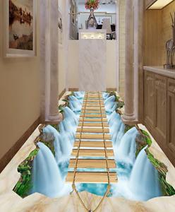 Corriente de 3D Papel de Parojo de suelo Puente Lago 7 Parojo Murales impresión AJ Wallpaper Reino Unido Limón