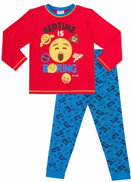 Boys Gaming PJs Emoji Grey Blue Long Pyjamas 8 to 15 Years