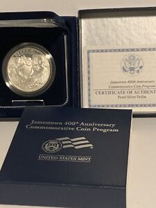 2007 P Jamestown 400th Anniversary Commemorative Silver Dollar Coin In Box Proof