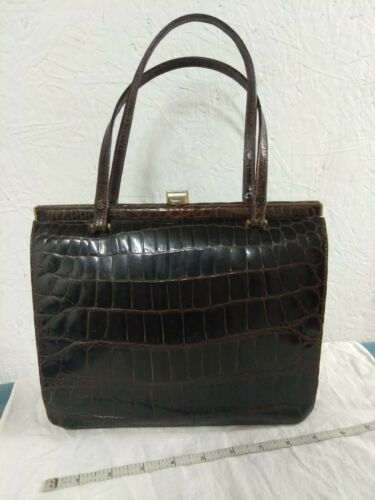 Vintage 1950's Brown Leather in Faux Alligator Pat